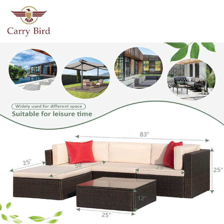 5 seater Patio Furniture Sets All-Weather Outdoor Sofa Manual Weaving Wicker Rattan Patio sofa set