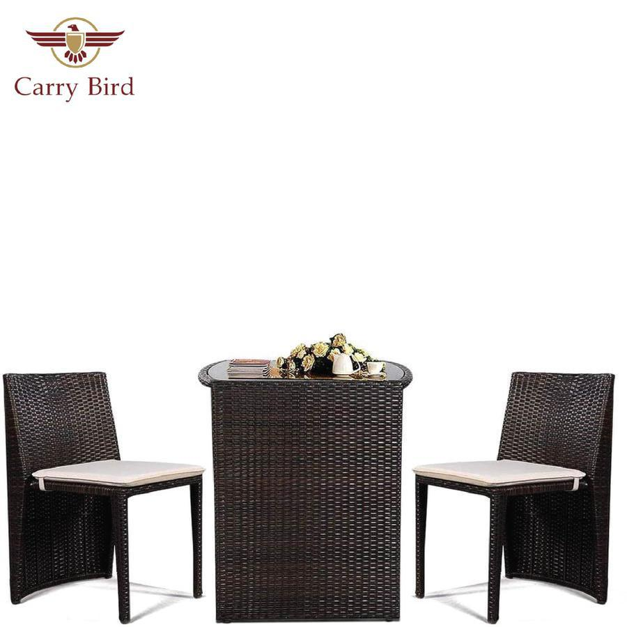 Crry Bird Wicker Bistro Set, Rattan Furniture Set 3 Piece Dining Table for Outdoor Patio Lawn Garden
