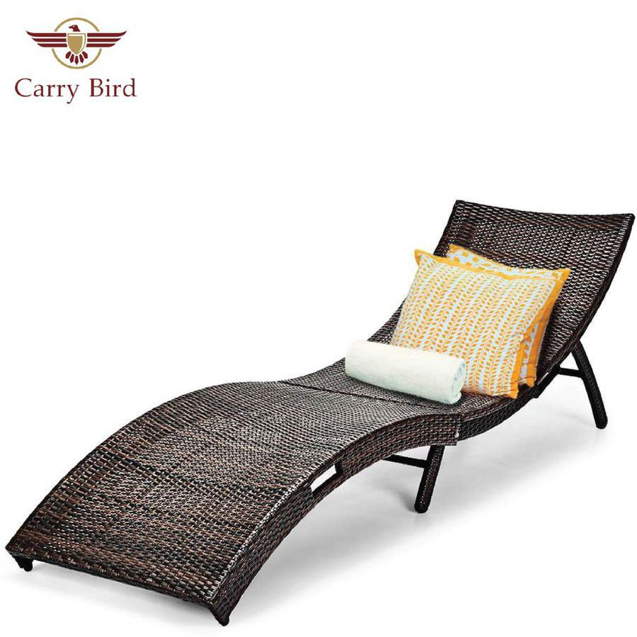 Carry Bird Rattan Chaise Lounge, Outdoor Wicker Lounge Chair, Foldable Chaise Lounge,