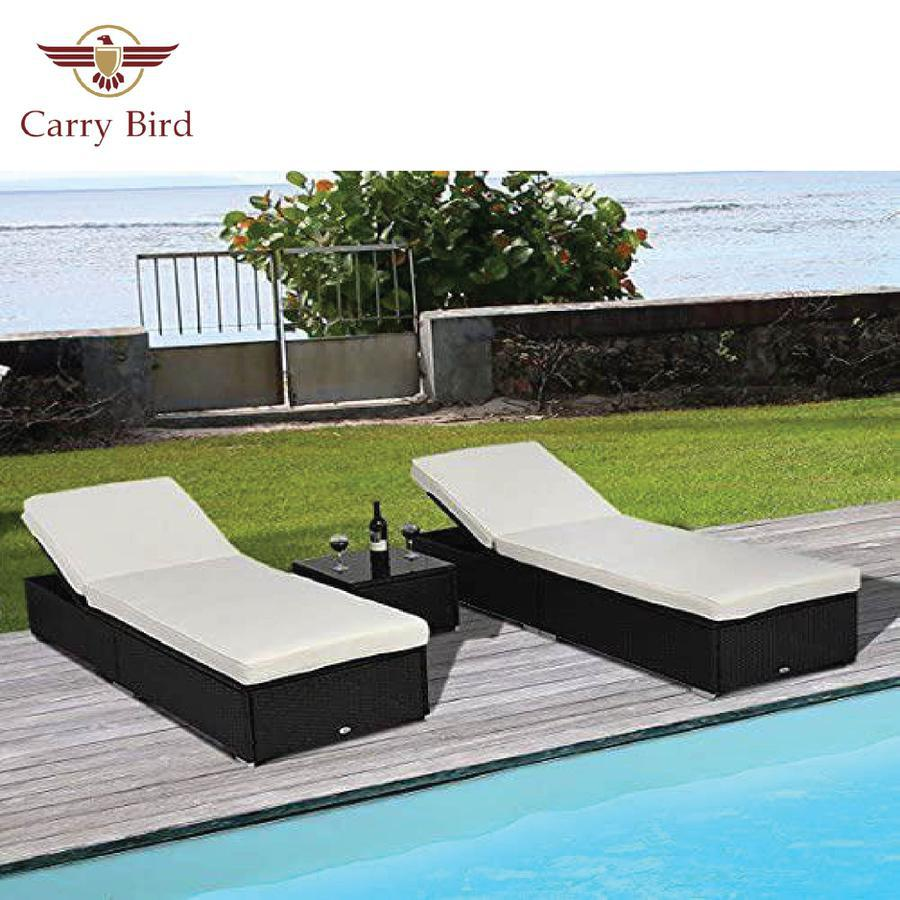 Carry Bird - Luxury 6 Position Adjustable Outdoor PE Rattan Wicker Chaise Patio Lounge Chair