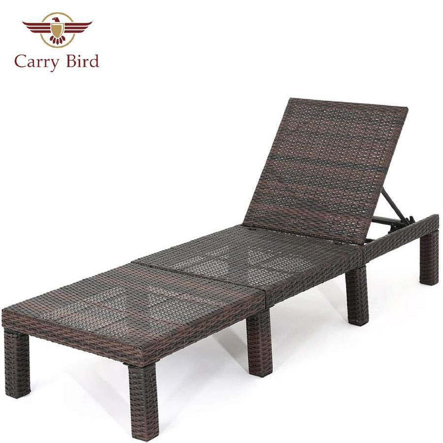 Outdoor Multibrown Wicker Chaise Lounge Without Cushion