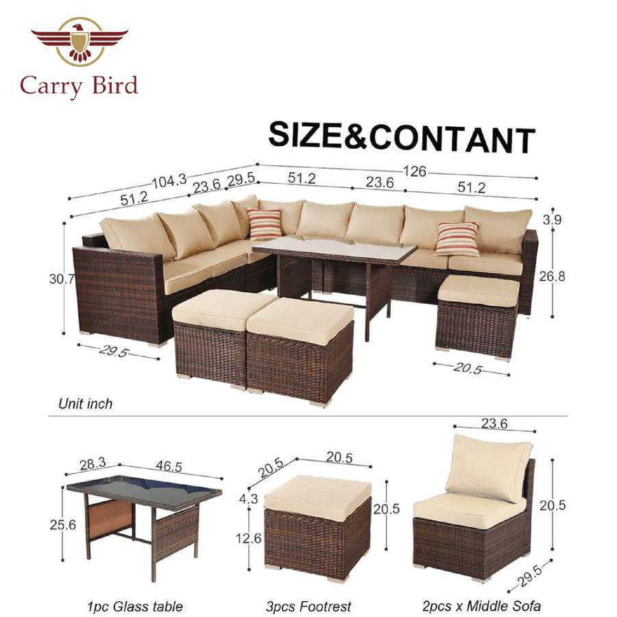 Carry Bird Patio Furniture Outdoor Conversation Set of 8 Garden Seating + 3 puffy with center table