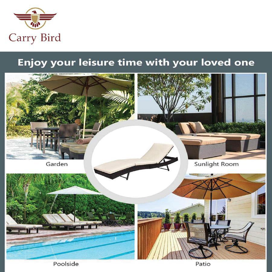 Reclining Chaise Lounge, Outdoor Beach Pool Yard Porch Wicker Rattan Adjustable Backrest Lounger