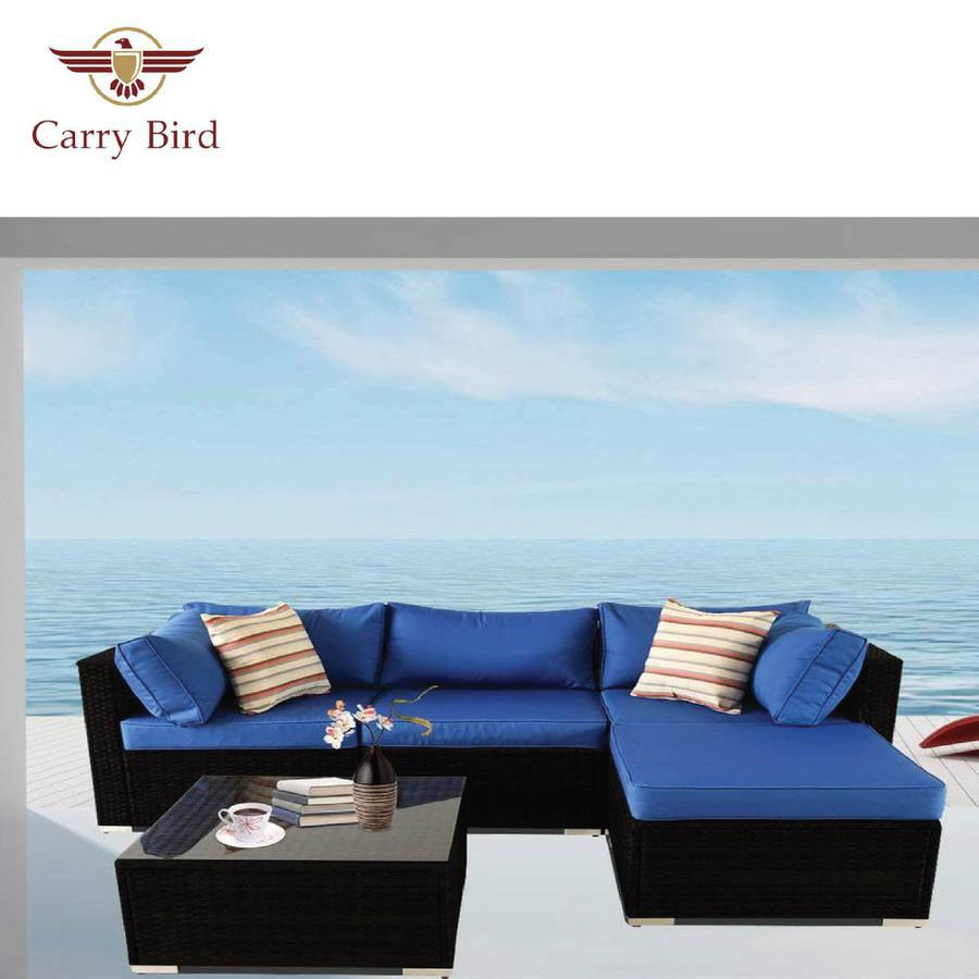 Carry Bird 5 seater Patio Furniture Sets All-Weather Outdoor Sofa Manual Weaving Wicker set