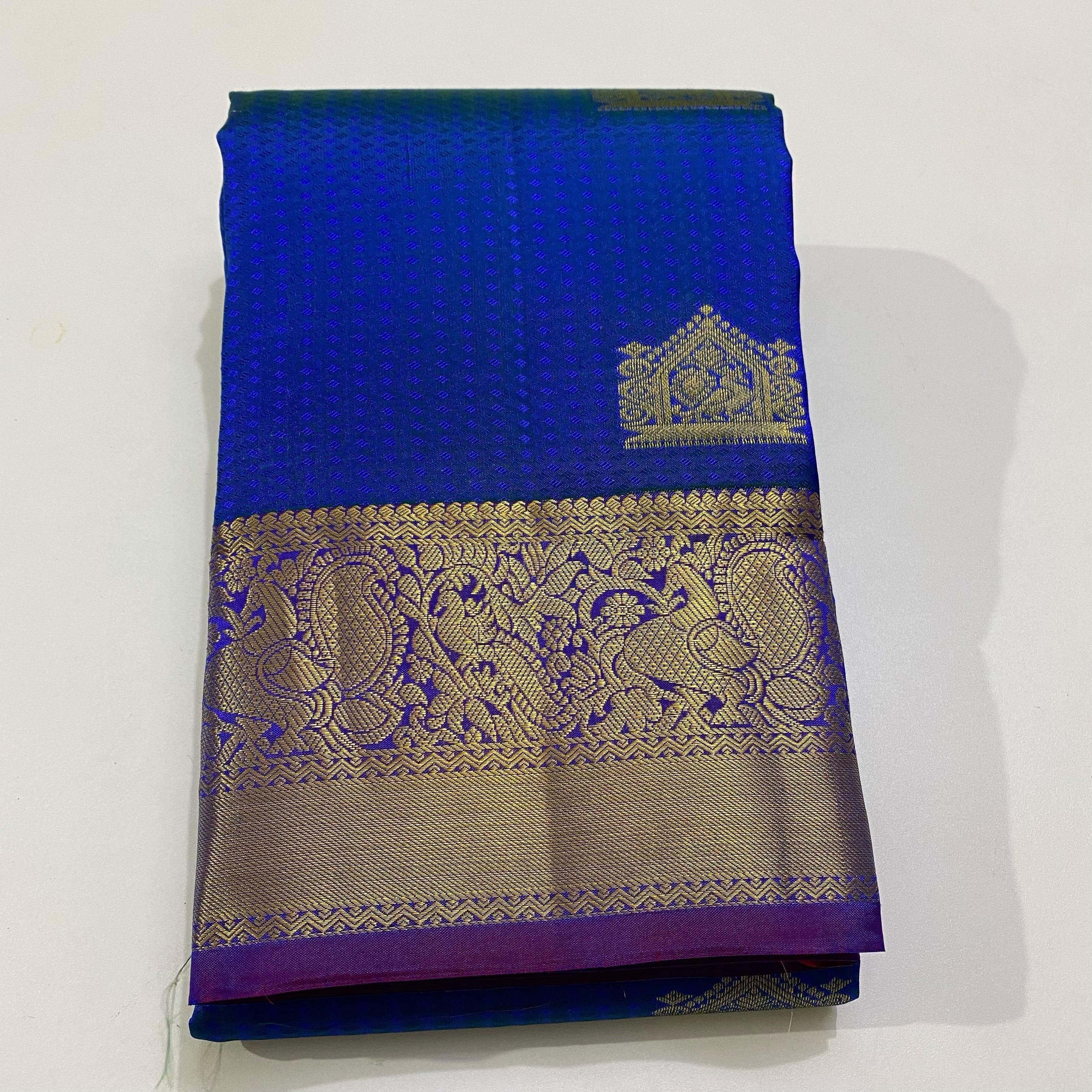 Blue With Reddish Pink Pure Kanchipuram Silk