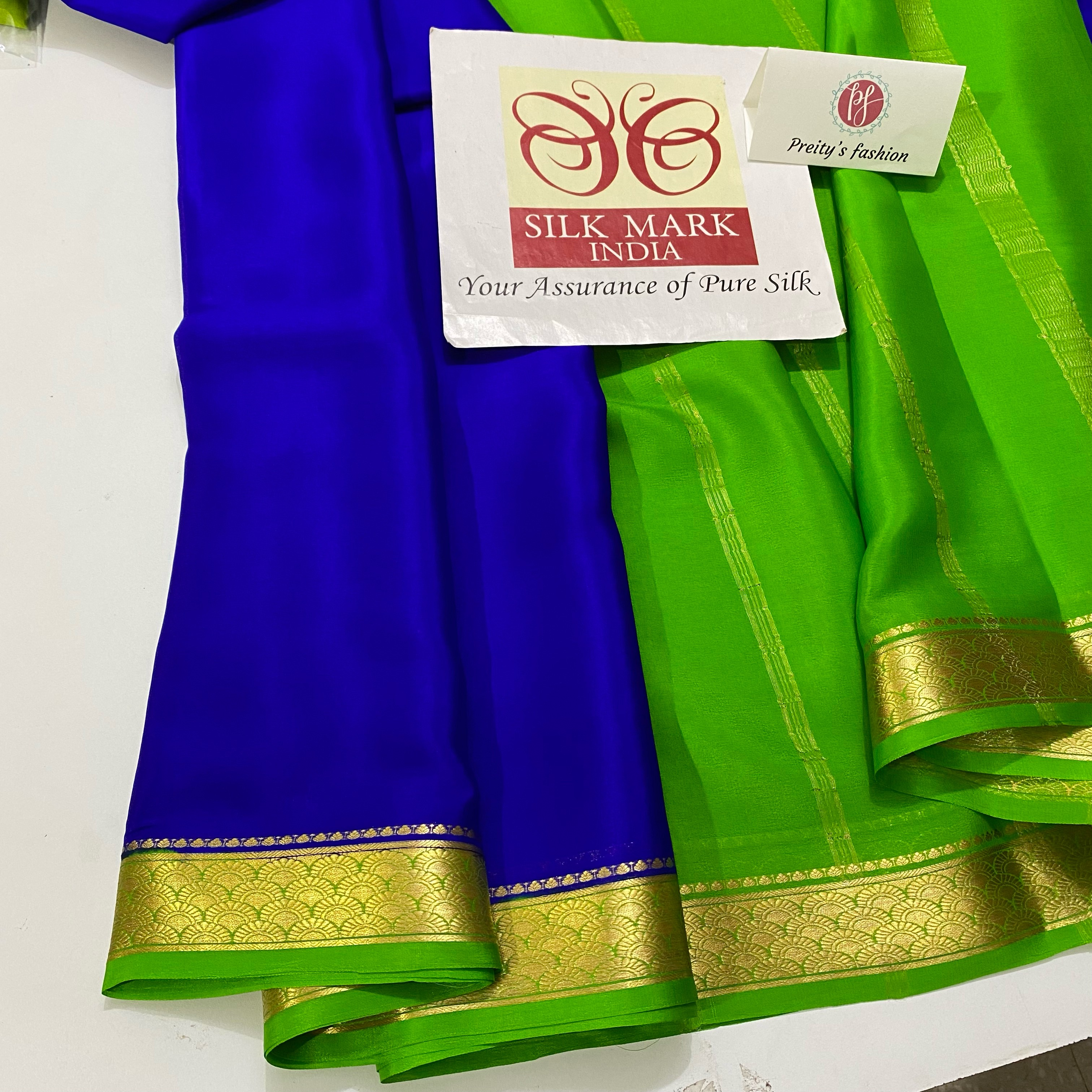 Royal Blue with Green Pure Mysore Crepe Silk