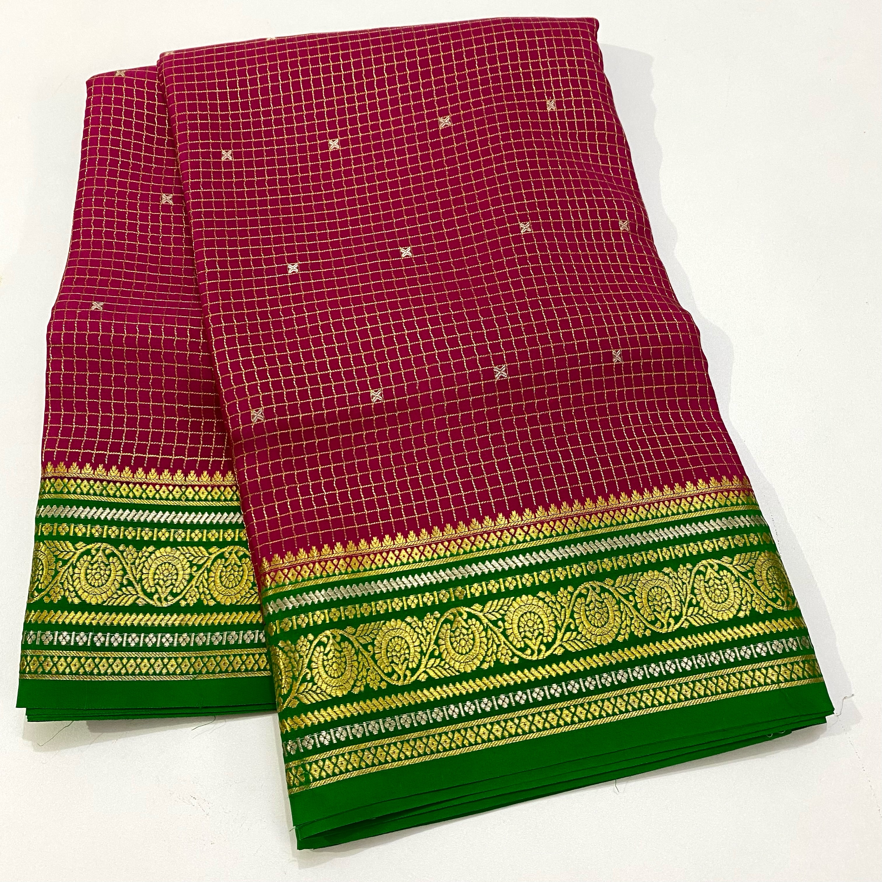 PINK WITH GREEN PURE MYSORE CREPE SILK