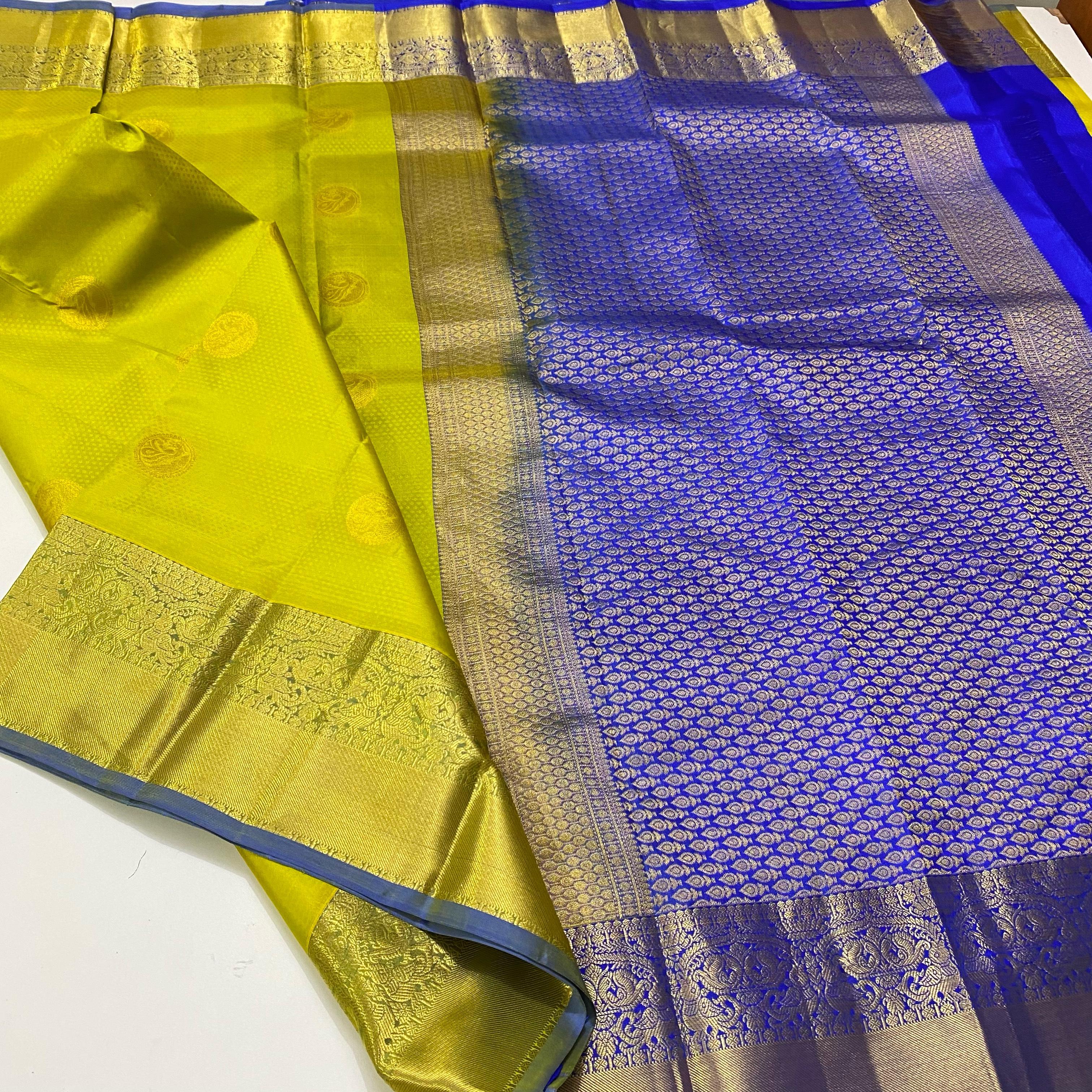Light Olive Green with Blue Pure Kanchipuram Silk Saree