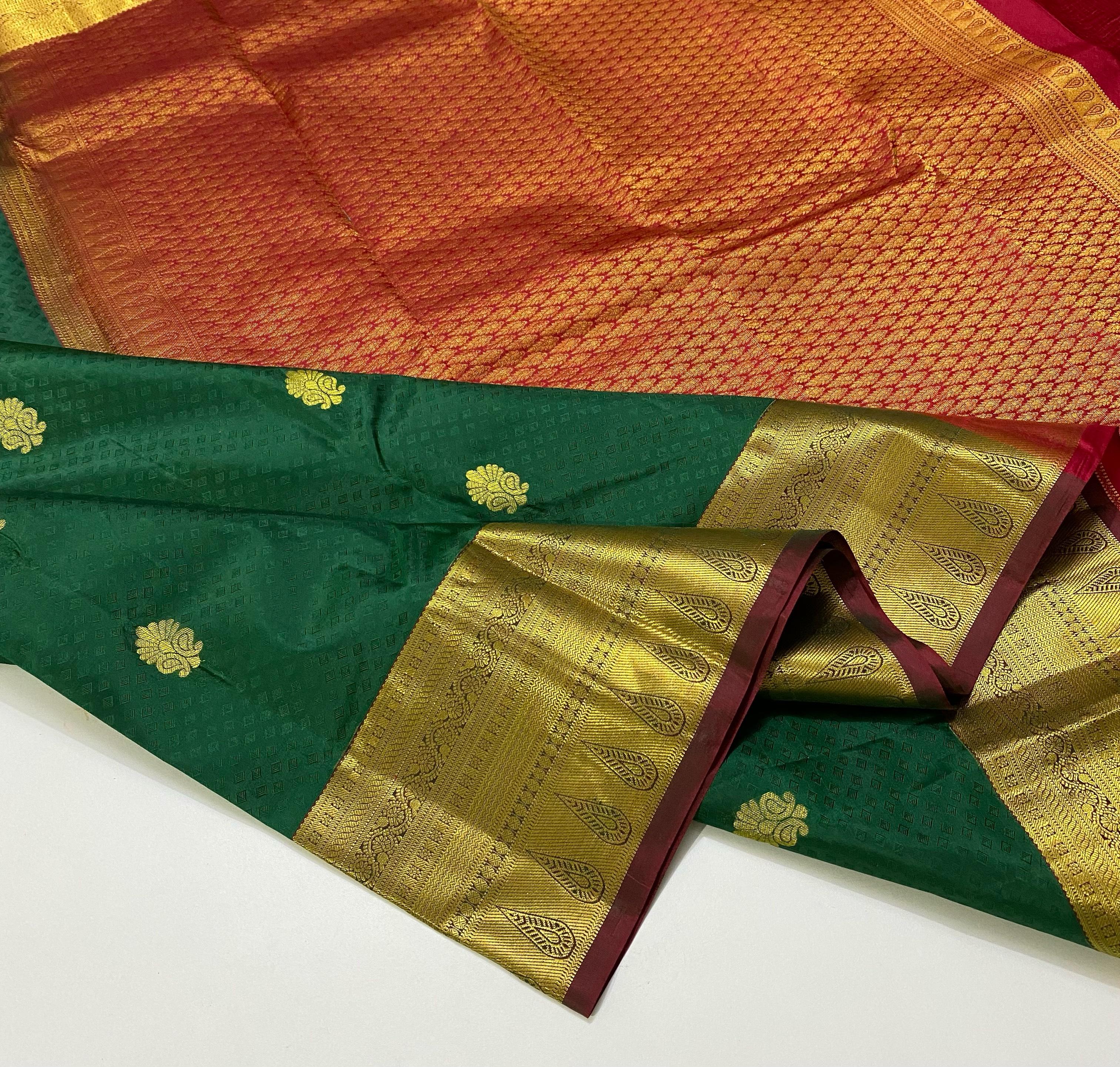 Dark Green with Pinkish Red Pure Kanchipuram Silk