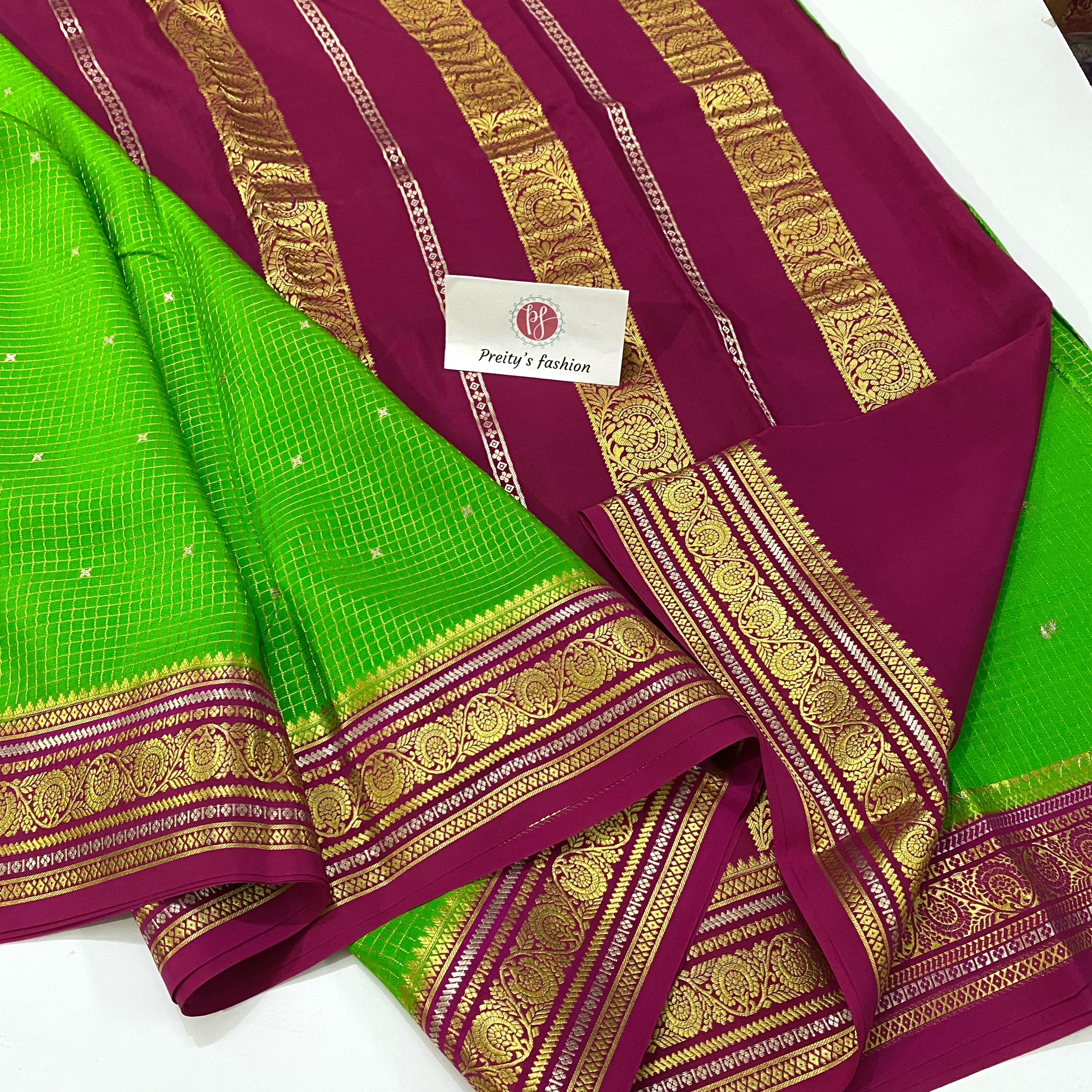 GREEN WITH PINK PURE MYSORE CREPE SILK