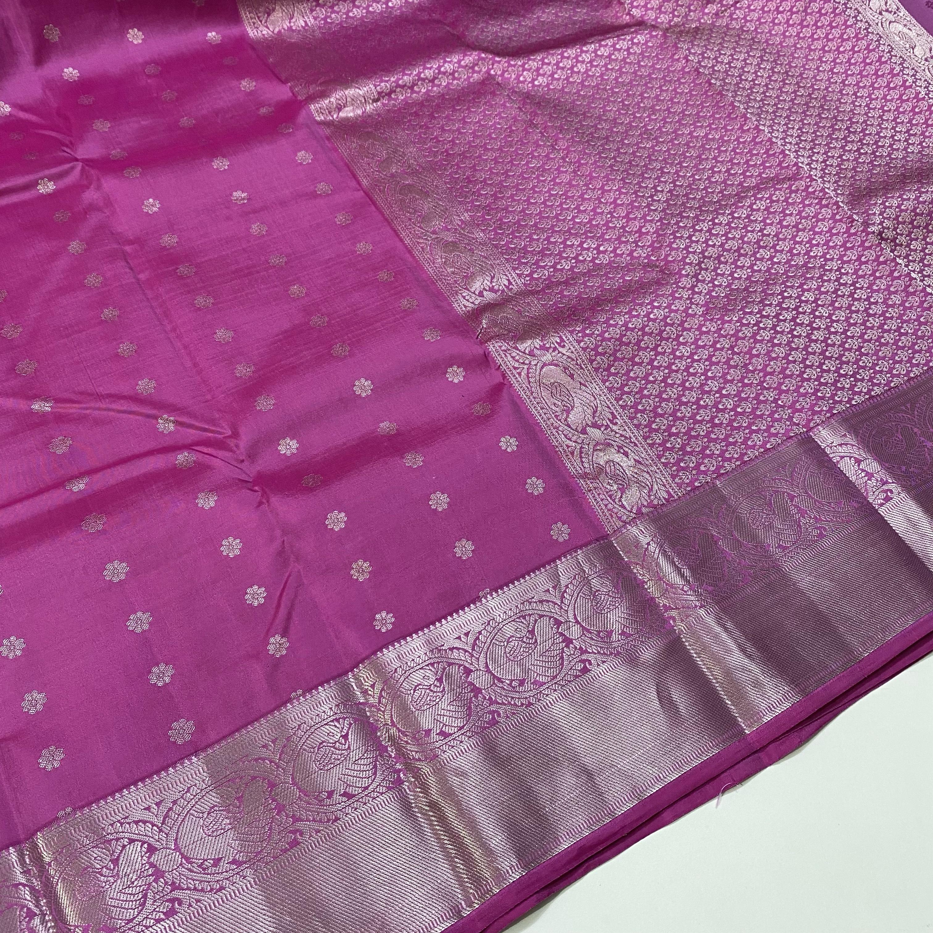 Pink color Silver Zari Kanchipuram Silk Saree