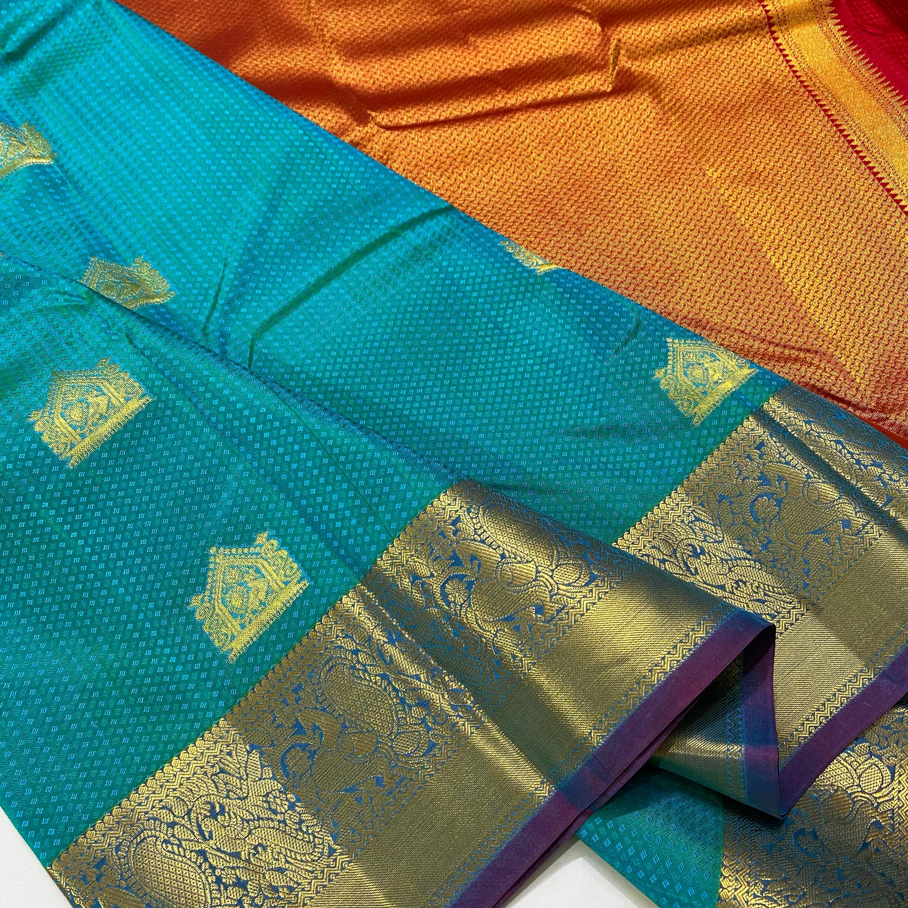 Sky Blue with Reddish Pink Color Pure Kanchipuram Silk
