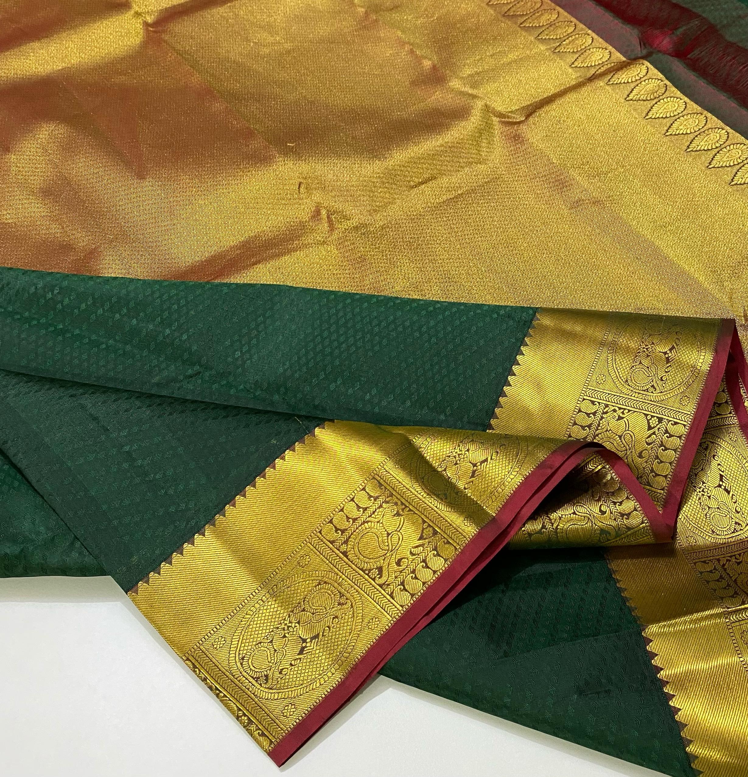 bottle green Maroon Pure Kanchipuram Silk