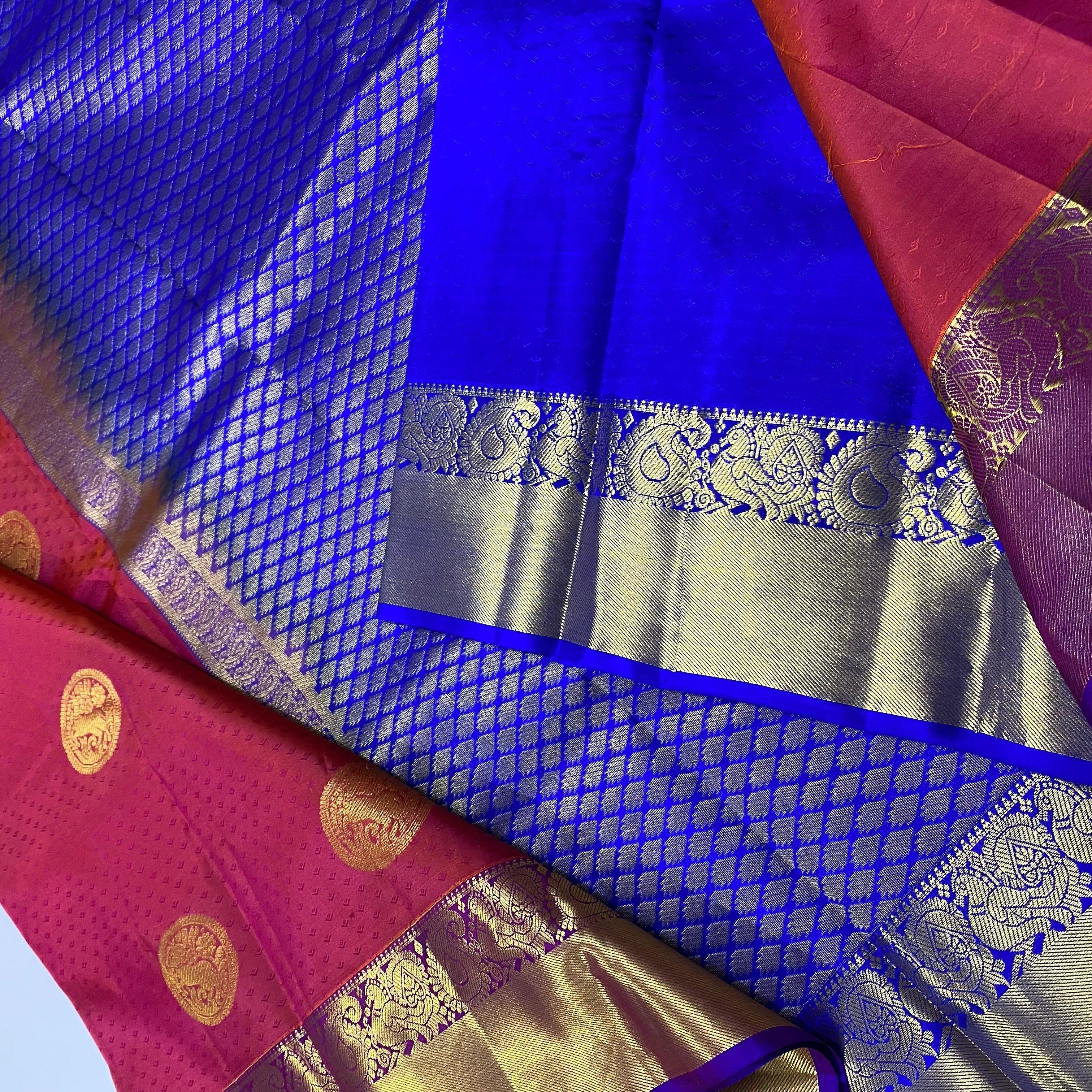Reddish Pink with Blue Pure Kanchipuram Silk Saree