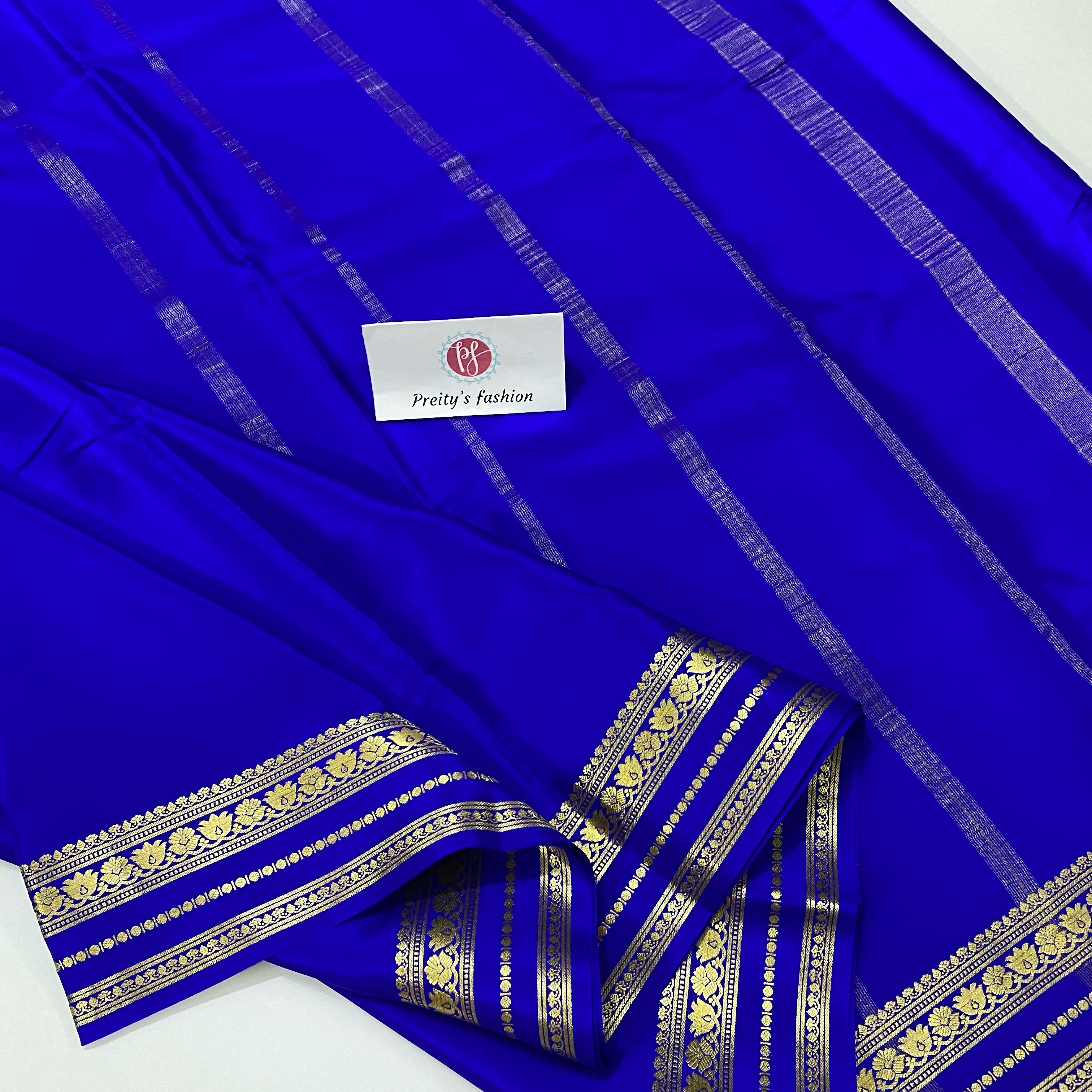 Royal Bue Color Pure Mysore Crepe Silk