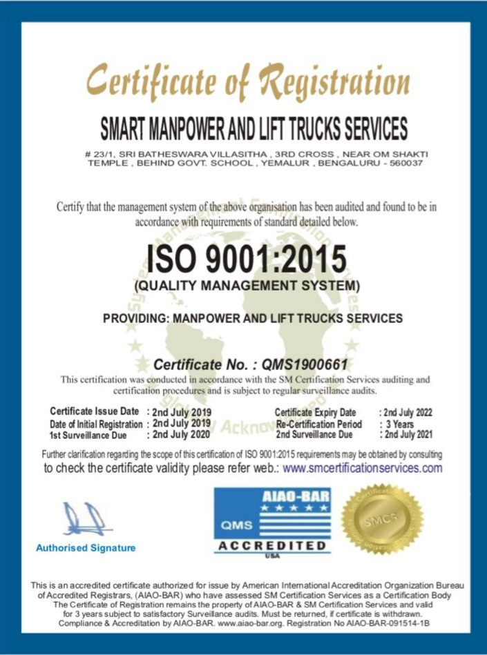 Our Service certificate