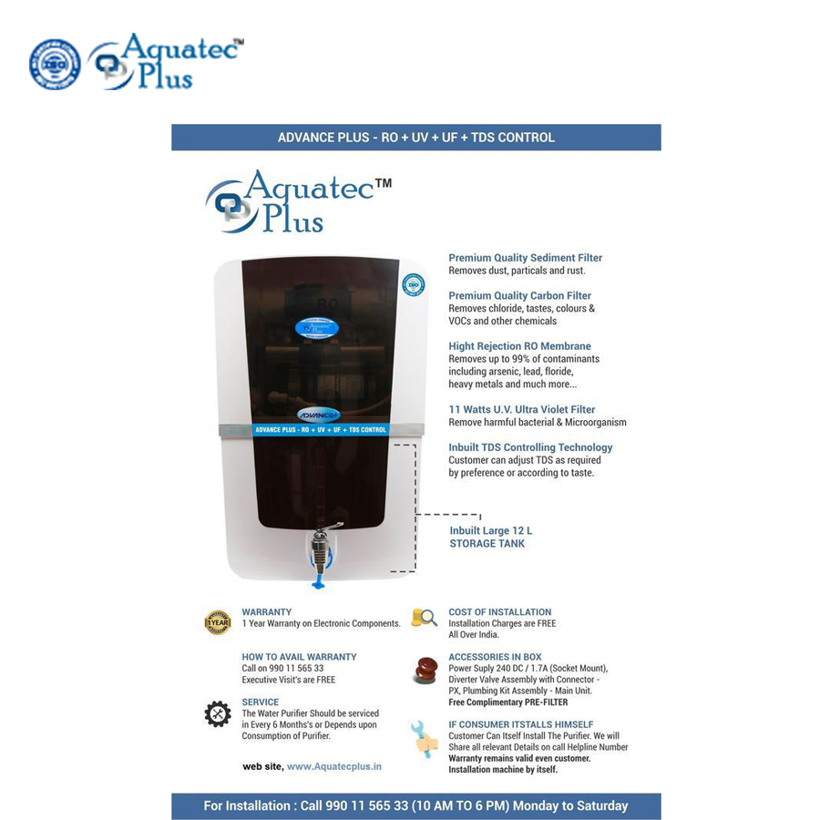 Water Purifiers Aquatec plus Advance plus 12 L RO + UV + UF + TDS