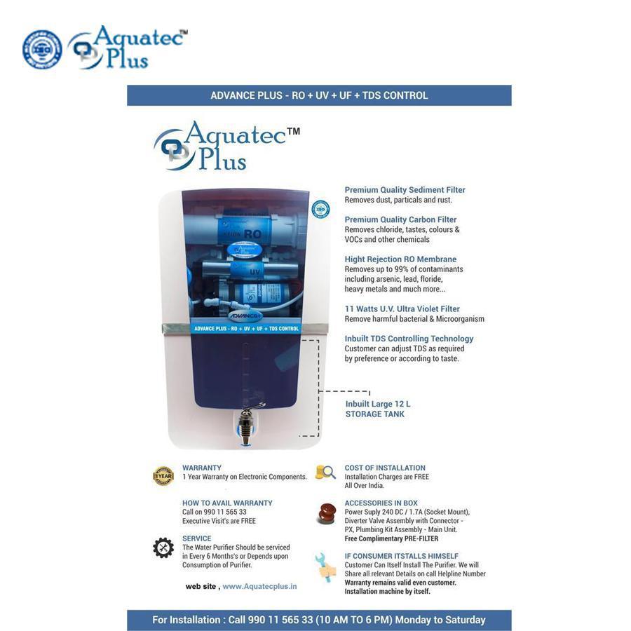 Water Purifiers Aquatec plus Advance plus 12 L RO + UV + UF + TDS Water