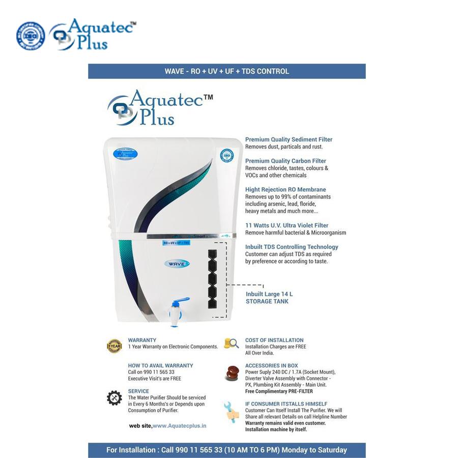 Water Purifiers Aquatec plus Wave 12 L RO + UV + UF + TDS Water Purifier