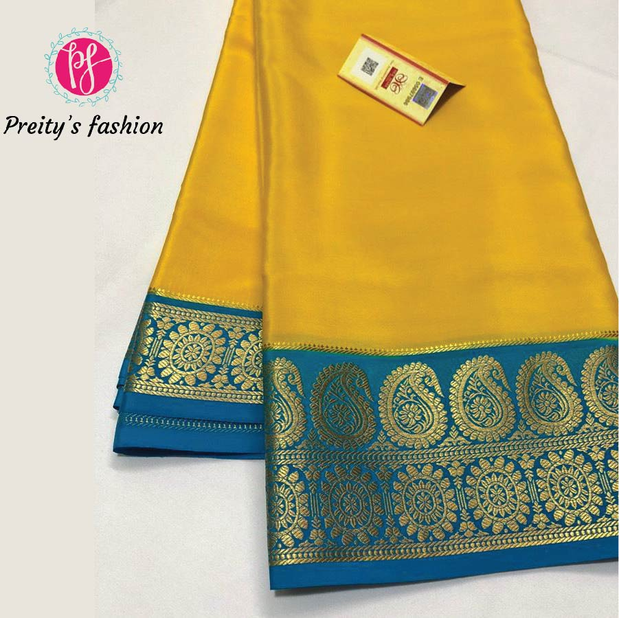 SUNFLOWER YELLOW PURE MYSORE CREPE SILK