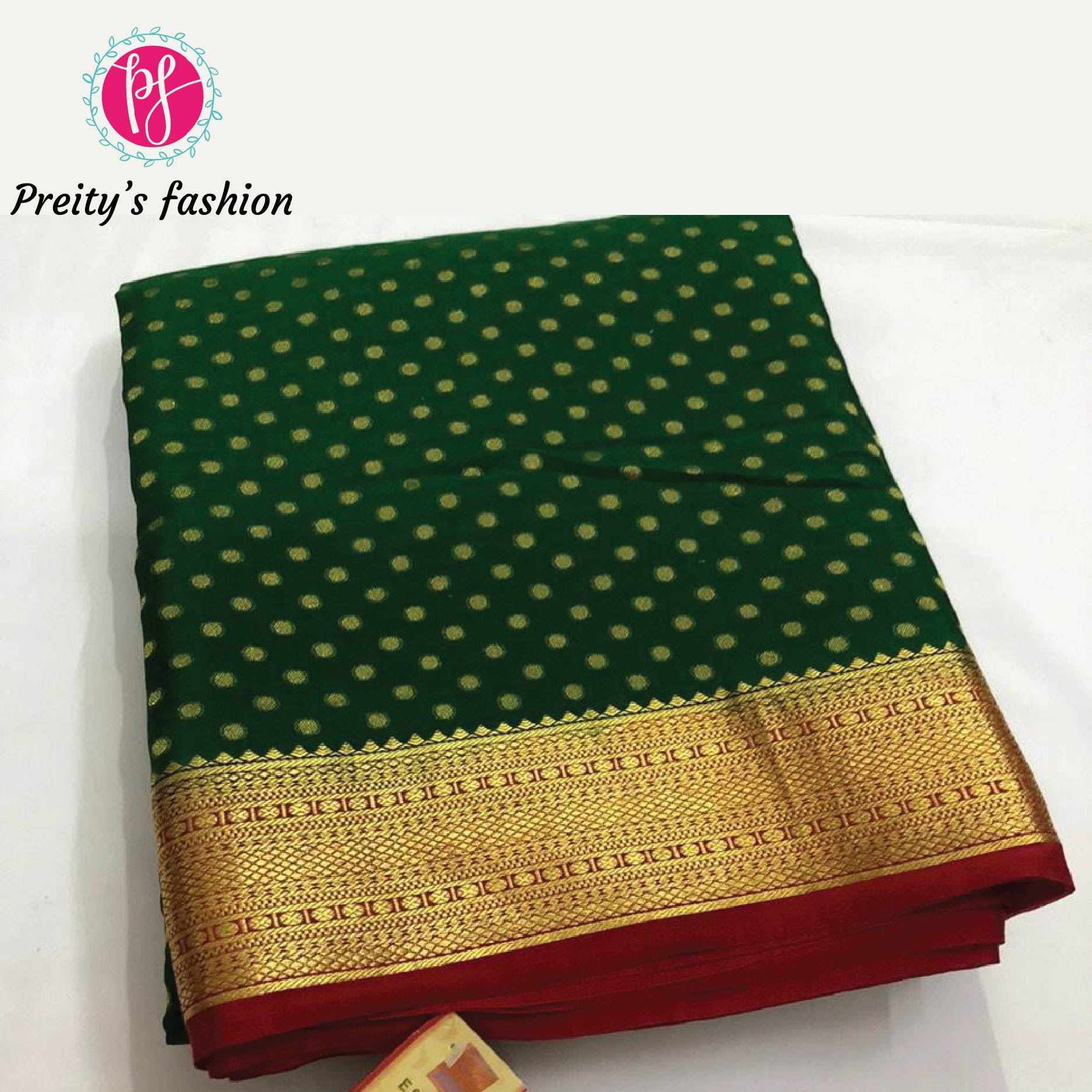 Bottle Green Pure Mysore Crepe Silk